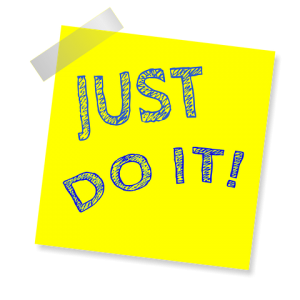 Just do it! wording on a post-it note