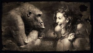 Chimp and woman showing emotions