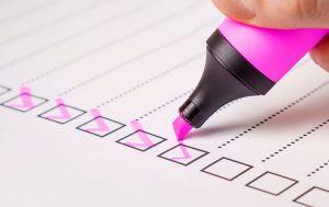 Tick box checklist