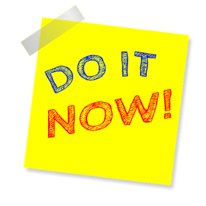 Do it now written on yellow post it note