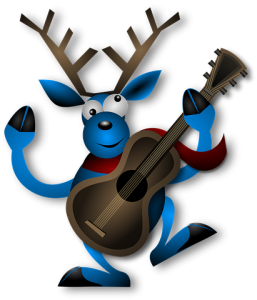 Blue reindeer with guitar cartoon