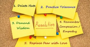 List of New Year resolutions on post it notes