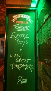 Electric Boys sign outside Bannermans music venue