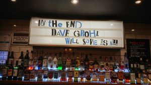 Sign saying 'Dave Grohl will save us all' in an Edinburgh pub