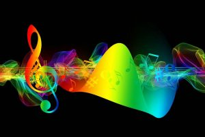 Image depicting colourful musical notes