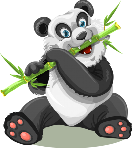Panda with bamboo cartoon