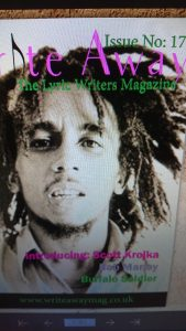 Write Away Magazine album cover featuring Bob Marley