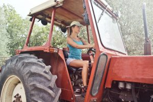 Woman in tractor
